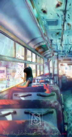 Bus - End of a rainy season by *sylphielmetallium. - ✧ pintrest: feeysb ✧ - ♡ credit to owner ♡