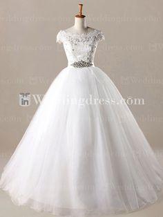 Princess Ball Gown Wedding Dress with Lace Appliques  http://www.inweddingdress.com/style-bg047.html