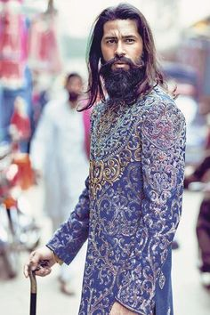 """""""""""I love you as the caravans love an oasis of greenery and water…"""" - Mahmoud Darwish"""" Indian Men Fashion, Mens Fashion, Costume Ethnique, Indian Male Model, Wedding Sherwani, Beard Lover, Indian Groom, Stylish Tops, Groom Attire"""