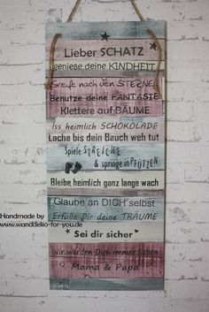 Lieber Schatz (Patchworkschild) Home Interior Design, Diy And Crafts, Lettering, Cool Stuff, Sayings, Words, Scrappy Quilts, Baby Crafts, Childhood Education