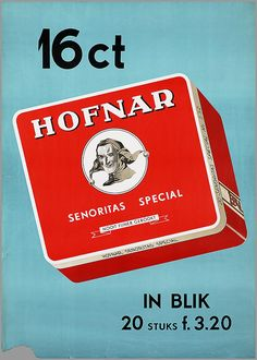 16 ct In Blik 20 stuks F.3.20.1967 1968 - vroeger rookte iedereen overal binnen, ook sigaren.