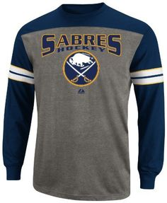 NHL Mens Buffalo Sabres Ath Nvy/Ath Gry Hth/Wht/Y Gld Long Sleeve Crew Neck Tee By Majestic (Ath Nvy/Ath Gry Hth/Wht/Y Gld, Large) by Majestic. $15.45. Keep Your Torso Toasty At The  Rink, For All 3 Periods And Beyond! Bold Nhl Team Screenprint Graphic Shows Your Team Loyalty, Colorblocked Front Body Shows You'Re Fashionable.