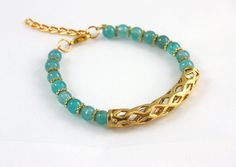 Natural Blue Agate Beaded Bracelet with gold plated charms- Mothers  Day Gift Idea - Ready to Ship via Etsy