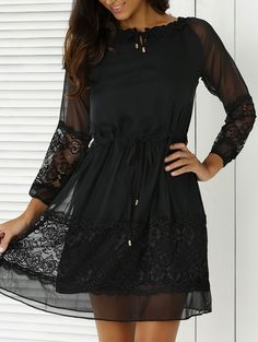 Lace Splicing 3/4 Sleeve Black Dress