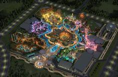 Concept art for designed Chuzhou Theme Park, Destin Resorts, Park Resorts, Planet Coaster, City Layout, Futuristic City, Parking Design, Amusement Park, Park City, Aerial View