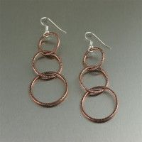 #Chased #Copper Hoop #Earrings - Three Tiered. Make an elegant, earthy statement with these chased Copper Earrings   http://www.ilovecopperjewelry.com/chased-copper-hoop-earrings-three-tiered.html  $40.00