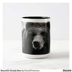 Beautiful Grizzly Bear Two-Tone Coffee Mug Bear Images, Bear Photos, Bear Pictures, Personalized Coffee Mugs, Two Tones, Color Pop, Color Black, Custom Mugs, Photo Mugs