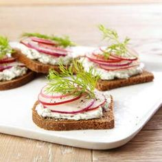 Radish Tea Sandwiches with Creamy Dill Spread Recipe. cream cheese or goat cheese, dill, and capers. i prefer hearty oatnut bread to pumpernickel.
