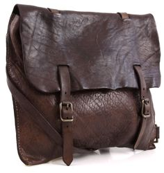 Campomaggi Lavata Cross Body Bag Leather dark-brown 32 cm - C1384VL-1701 - Designer Bags Shop - wardow.com