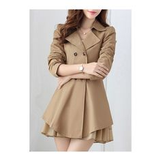 Style:Fashion. Pattern Type:Solid. Collar:Turndown Collar. Sleeve Length:Long Sleeve. Closure Type:double breasted. Clothing Length:Long. Material:Not Specifie…