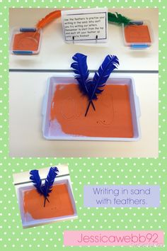 Mark making and writing in sand using feathers. EYFS
