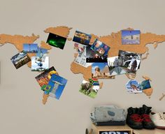 World Map Cork Board - map where you have been through photographs!