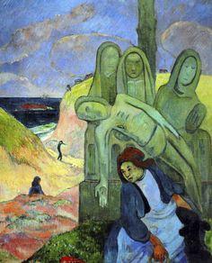Paul Gauguin - Post Impressionism - Le Christ vert, calvaire breton - Green Christ - 1889