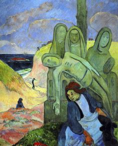 Paul Gauguin - Post Impressionism - Le Christ vert, calvaire breton - Green Christ - 1889