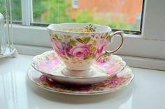 Royal Albert Serena china teacup saucer and tea plate trio 1st quality, vintage English china, floral