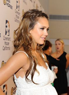 Just a Little Bit    If you have long hair but don't want to braid it all (or simply don't have the time), try chunky center-parted French braids like Jessica Alba. They're fast and easy, messy enough to look modern, and will work on any hair thickness.