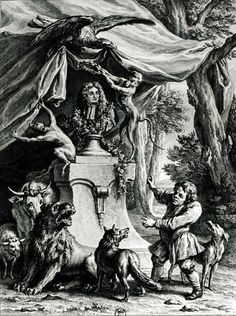 Allegorical portrait of Jean de La Fontaine (1621-95) surrounded by animals from his fables