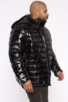 Mens Down Jacket, Black Hood, Puffer Jackets, Nova, Base, Closure, Pockets, Zip, Medium
