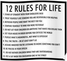 12 rules for life jordan peterson version 1 - Poster Life Advice, Good Advice, Life Tips, Ramadan, Fail Blog, Life Skills Kids, Hymen, Encouragement, Jordan Peterson