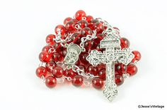 Indulgence Pardon Rosary Red Glass Silver by JessesVintage on Etsy