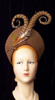 Vintage Tall Curled Pheasant Feathers Brown Turban Hat 30s 40s WWII Pin Up Mint | eBay