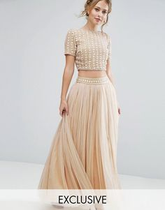 Lace & Beads Maxi Tulle Skirt with Embellished Waist Co Ord