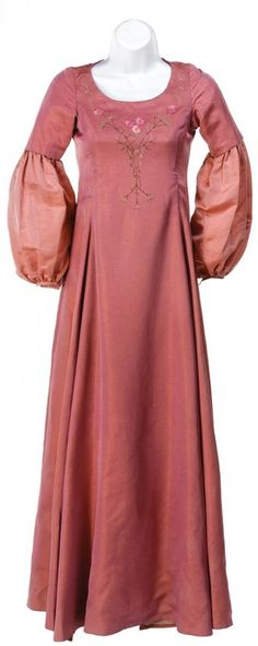 Lucy's costume when Caspian is crowned King. Includes a pink silk underskirt, a beautiful, long pink dres. on Oct 2014 Medieval Costume, Medieval Dress, Narnia Costumes, Pink Dress, Dress Up, Lucy Dresses, Prince Caspian, Chronicles Of Narnia, Costume Design