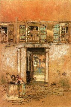 Pátio e Canal, óleo por James Abbott Mcneill Whistler (1834-1903, United States)