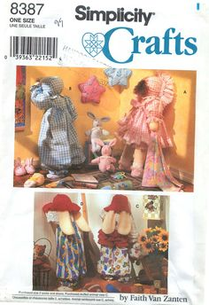 """Simplicity Crafts 8387 Sewing Pattern for 25"""" Dolls and Clothes and Bunnies by CarlasHope on Etsy"""
