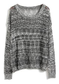 Grey Batwing Long Sleeve Hollow Kint Sweater - Sheinside.com