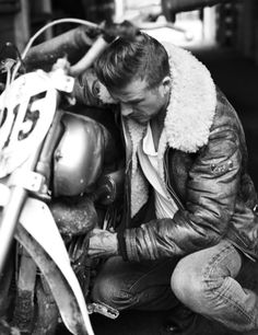 Leather jacket, jeans & motorcycle || David Beckham by Josh Olins forEsquire UKSeptember 2012