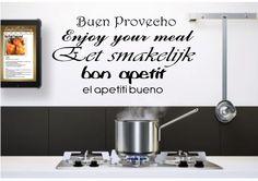 Eet smakelijk in 5 talen leuke sticker voor de keuken