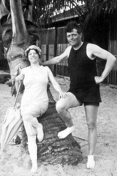 Author, journalist Jack London (Jan. 12, 1876 - Nov. 22, 1916) and Charmain Kittredge (ca. 1915) at Waikiki.