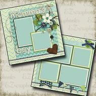 MOMMA'S BOY - 2 Premade Scrapbook Pages - EZ Layout 248