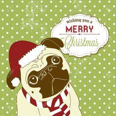 christmas pug cute little gog in santa hat Stock Vector