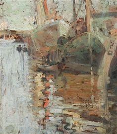 Artwork by Arthur Streeton, Shipping on the Yarra, near Princes Bridge, Made of oil on wood panel