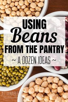 Have a pantry full of inexpensive dry beans? These bean are delicious and filling. If your food storage is heavy on beans, here's how to use some of those beans in hearty meals. Entree Recipes, Bean Recipes, Cooker Recipes, Vegetarian Dinners, Vegetarian Recipes, Healthy Recipes, Canned Beans Recipe, Recipes With Dried Beans, Healthy Beans