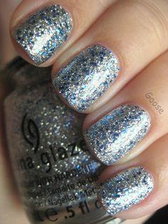 China Glaze Lorelei's Tiara (Barry M Silver Foil under)