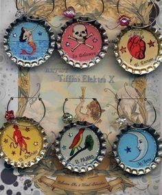 Loteria Bottle Cap art..I love these on fridge.Bottle caps Hobby lobby loteria images on line.fill with ice resin.Stick on tinymagnets on the back and hang on your refrigerator or file cabinets at work