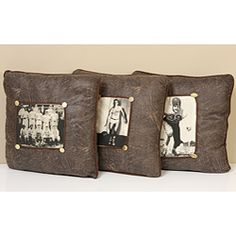 @Overstock...vintage sports pillows, set of 3...kids' bedding accessory features a different vintage sports photo on each pillow $21