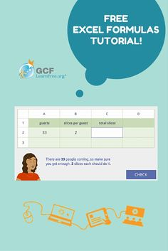 Whether you're using Excel, Google Sheets, or another spreadsheet program, it's important to know how to create formulas. This GCFLearnFree.org tutorial will show you the basics of creating formulas, and it will give you opportunities to practice with real-world scenarios.