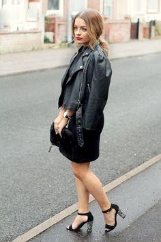 biker jacket + lbd = perfection