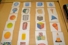Ricca's Kindergarten: Shape Sort {Freebie} I love this - real photos of items that are Fun Math, Math Activities, Math Games, 3d Shapes Activities, Solid Shapes, Geometric Shapes, Geometric Solids, Shape Sort, Teaching Shapes