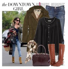"""The Downtown Girl"" by recklesspineapple ❤ liked on Polyvore featuring Rachel, Current/Elliott, Burberry, Tsumori Chisato, MaxMara, Nine West, skinny jeans, ruffle blouses, parkas and printed scarves"
