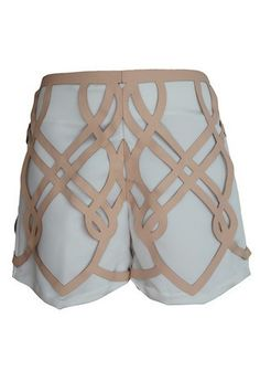 emma griffiths laser-cut leather shorts...biggest trend for spring 2014....laser cut and short shorts...a la phoebe