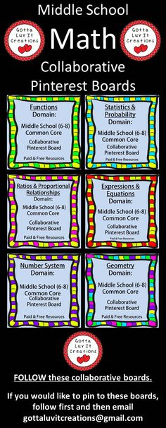 FOLLOW!!  Middle School MATH Collaborative Pinterest boards for Teachers and TPT Sellers.  Middle School MATH Domains.  If you would like to pin to these boards, follow first then email gottaluvitcreations@gmail.com. tptmath052814