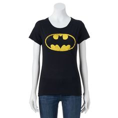 Juniors' DC Comics Batman High Low Graphic Tee, Black