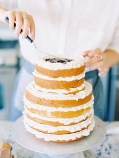 The perfect cake for any occasion: http://www.stylemepretty.com/living/2015/04/21/a-gorgeous-cake-to-make-at-home/ | Photography: D'arcy Benincosa - http://www.benincosaweddings.com/