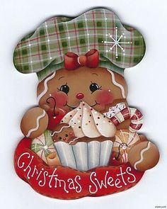HP Gingerbread Chef Fridge Magnet has lots of treats in front of her, cupcake, cookie, cherries, and candies. Christmas Mantels, Christmas Sweets, Christmas Art, Christmas Projects, All Things Christmas, Christmas Ornaments, Gingerbread Ornaments, Gingerbread Decorations, Christmas Gingerbread
