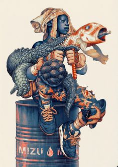 unstablefragments: Mizu. Ink and Digital via jamesjeanart